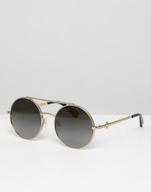 Круглые солнцезащитные очки в золотистой оправе с двойной планкой LOVE Moschino. Цвет: золотой
