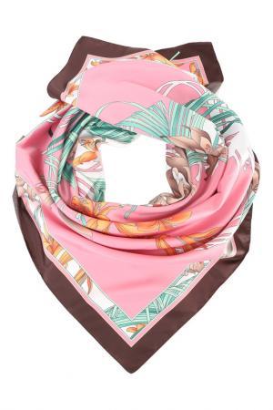 Платок F.FRANTELLI. Цвет: зеленый, розовый, оранжевый