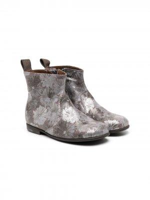 Ботинки с цветочным принтом и эффектом металлик Pèpè. Цвет: серебристый