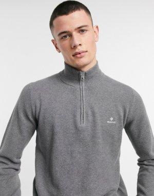 Темно-серый меланжевый джемпер из хлопкового пике с логотипом и короткой молнией Gant