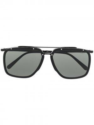 Солнцезащитные очки в квадратной оправе Brioni. Цвет: черный