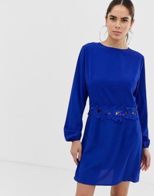 Платье мини с длинными рукавами -Синий AX Paris