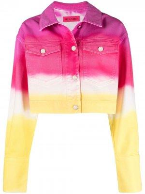 Укороченная джинсовая куртка с принтом тай-дай IRENEISGOOD. Цвет: розовый