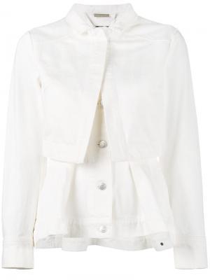 Джинсовая куртка с баской Alexander McQueen. Цвет: телесный