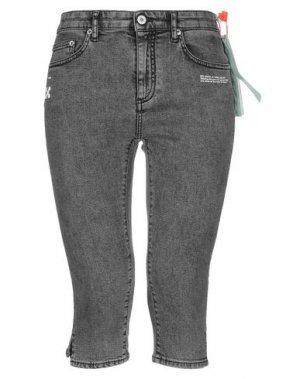 Джинсовые брюки-капри OFF-WHITE™. Цвет: серый
