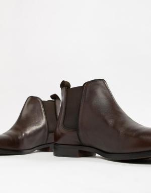 Коричневые кожаные ботинки челси с однотонной подошвой -Коричневый ASOS DESIGN