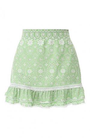 Хлопковая юбка Charo Ruiz Ibiza. Цвет: зелёный