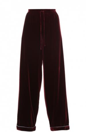 Бархатные брюки в пижамном стиле с эластичным поясом Valentino. Цвет: бордовый