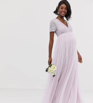 Сиреневое платье макси из тюля с V-образным вырезом и пайетками Bridesmaid-Фиолетовый Maya Maternity