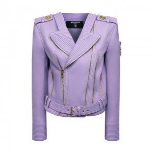 Кожаная куртка Balmain. Цвет: фиолетовый