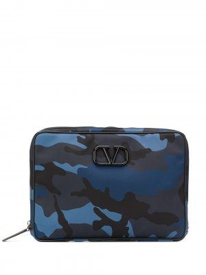 Сумка для ноутбука с логотипом VLogo Valentino Garavani. Цвет: синий