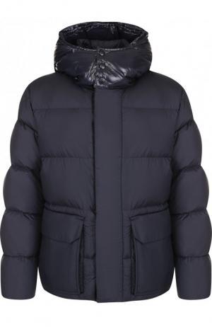 Утепленная куртка Glacier на молнии с капюшоном Moncler. Цвет: темно-синий