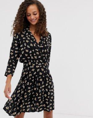 Повседневное чайное платье мини с запахом и цветочным принтом -Мульти ASOS DESIGN