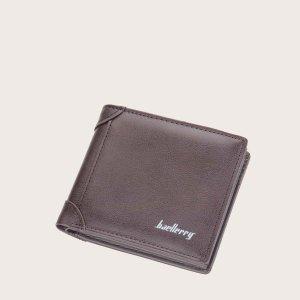 Маленький кошелек для мужчин с текстовым рисунком SHEIN. Цвет: кофейный коричневый