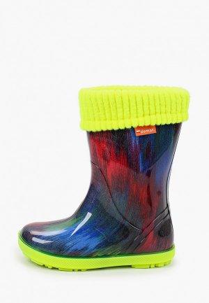 Резиновые сапоги Demar. Цвет: разноцветный