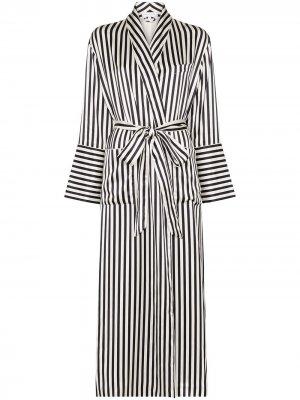Длинный халат Capability в полоску Olivia von Halle. Цвет: белый