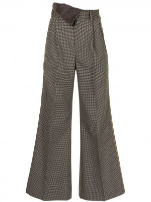 Расклешенные брюки с подворотом на поясе Kolor. Цвет: коричневый