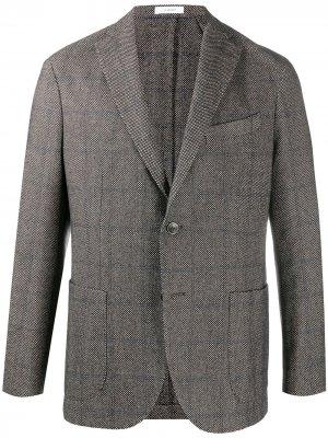 Однобортный пиджак в клетку Boglioli. Цвет: белый
