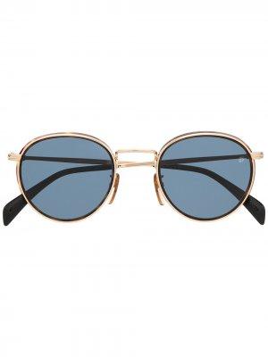 Солнцезащитные очки в круглой оправе Eyewear by David Beckham. Цвет: золотистый