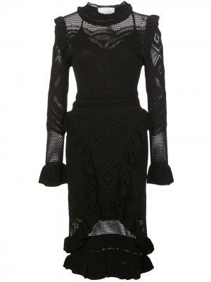Платье миди Sivan в технике кроше Alexis. Цвет: черный
