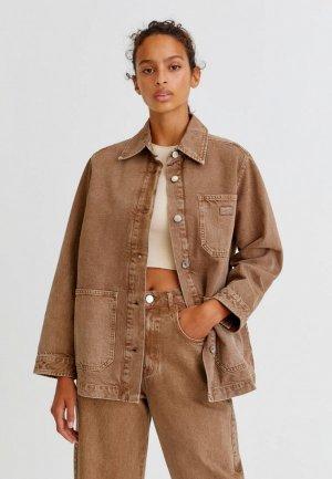 Куртка джинсовая Pull&Bear. Цвет: коричневый