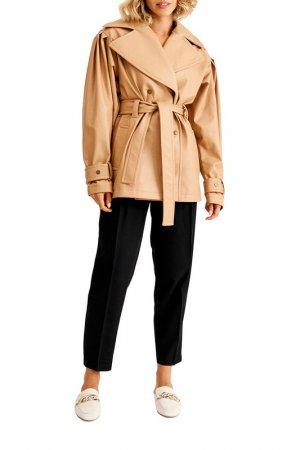 Куртка кожаная MUA. Цвет: коричневый