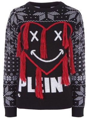 Пуловер шерстяной с принтом Philipp Plein. Цвет: разноцветный