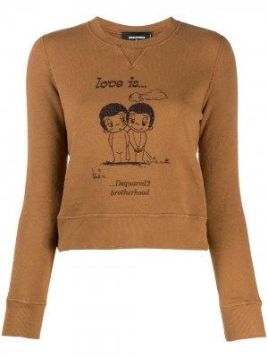 Cropped slogan print sweatshirt Dsquared2. Цвет: нейтральные цвета