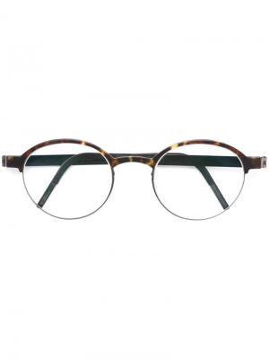 Солнцезащитные очки в круглой оправе Lindberg. Цвет: коричневый