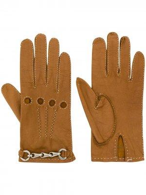 Перчатки с цепочками Céline Pre-Owned. Цвет: коричневый