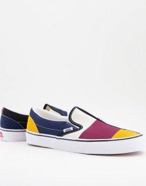 Разноцветные кеды-слипоны с бордовыми вставками UA Classic Slip-On-Многоцветный Vans