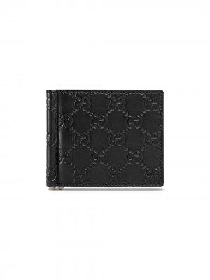 Бумажник Signature с зажимом для денег Gucci. Цвет: черный