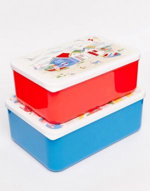 Набор из 2 коробок для ланча Cath Kidston. Цвет: белый