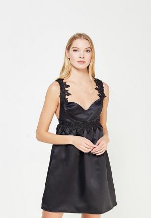 Платье LOST INK LACE TRIM FIT AND FLARE SATIN DRESS. Цвет: черный