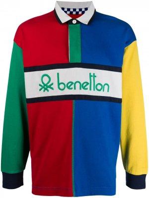 Рубашка-поло в стиле колор-блок Benetton. Цвет: синий