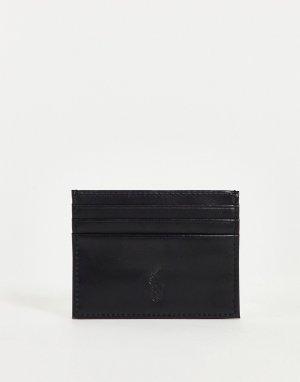 Черная складывающаяся кожаная визитница с серебристым логотипом -Черный цвет Polo Ralph Lauren