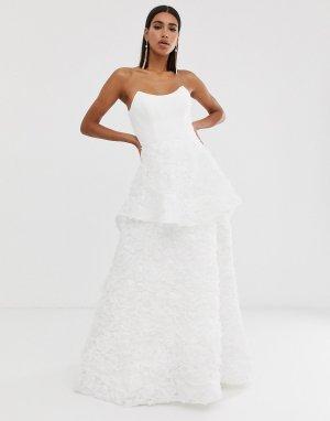 Белое свадебное платье с квадратным вырезом -Белый Bariano