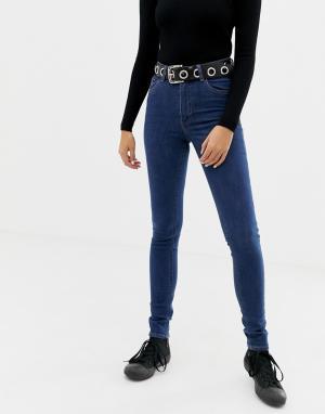 Эластичные джинсы скинни из переработанного и органического хлопка с завышенной талией -Синий Cheap Monday