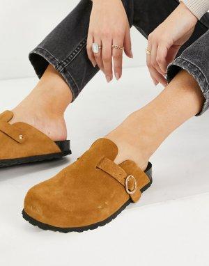 Светло-коричневые туфли-сабо из искусственной замши -Коричневый цвет Kaltur