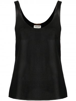 Расклешенный топ Saint Laurent. Цвет: черный