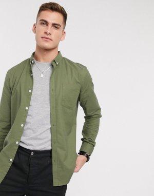Оксфордская рубашка из органического хлопка цвета хаки с длинными рукавами -Зеленый New Look
