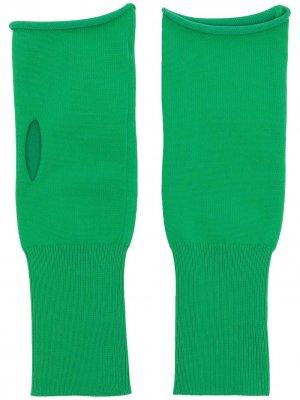 Перчатки-митенки тонкой вязки Jil Sander. Цвет: зеленый