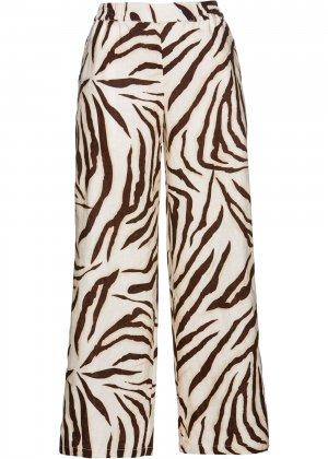 Льняные брюки bonprix. Цвет: корич-невый