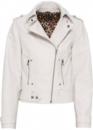 Куртка в байкерском стиле bonprix. Цвет: серый