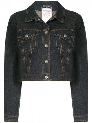 Джинсовая куртка с контрастной строчкой Chanel Pre-Owned. Цвет: синий