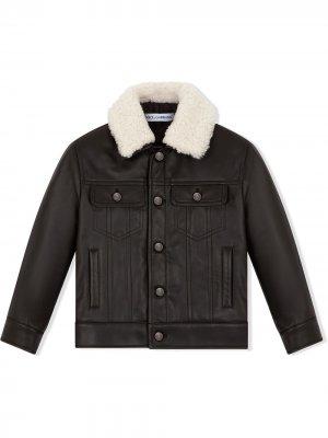 Куртка с контрастным воротником Dolce & Gabbana Kids. Цвет: черный