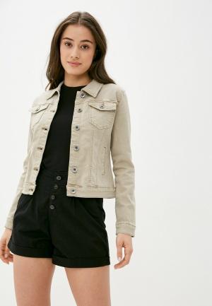 Куртка джинсовая B.Style. Цвет: бежевый