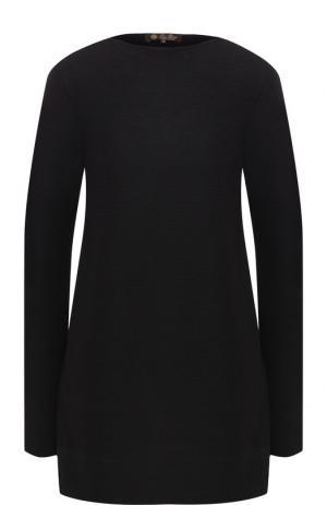 Пуловер из смеси кашемира и шелка Loro Piana. Цвет: темно-серый