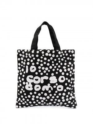 Сумка-тоут в горох с логотипом 10 CORSO COMO. Цвет: черный