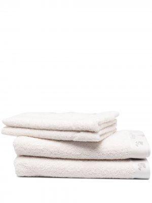 Комплект из двух полотенец с вышитым логотипом Off-White. Цвет: белый